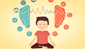 mindfulness - a boy sites underneath a brain and many thoughts